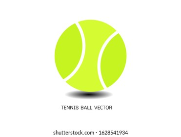 Isolated green tennis ball on white. Equipment for racket sport.Round object closeup with shade or shadow. Sporting and professional play, game and playing theme.EPS 10.