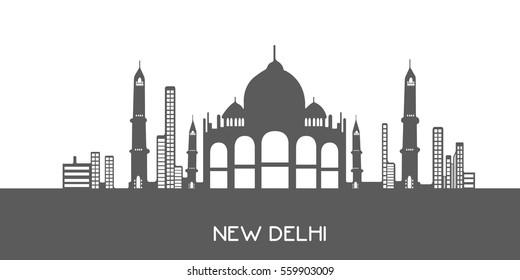 Isolated grey cityscape of New Delhi, Vector illustration