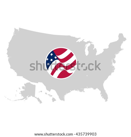 American Map Vector.Isolated Grey Color American Map Vector Stock Vector Royalty Free