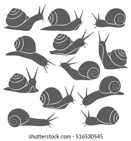 Isolated grey on white decorative snail symbols set with snails silhouettes on blank background flat vector illustration
