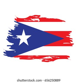 Isolated grunge textured flag of Puerto Rico, Vector illustration