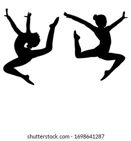 isolated, gymnast girls black silhouette jump