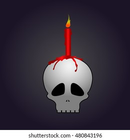 Isolated halloween skull with a candle, Vector illustration