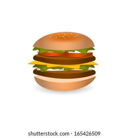 isolated hamburger
