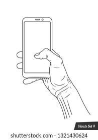 Isolated hand drawen hands on a white background, vector collection,outline illustration