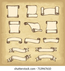 Isolated hand drawn banners set. Old paper texture background. Vintage style elements for your design works. Vector illustration.