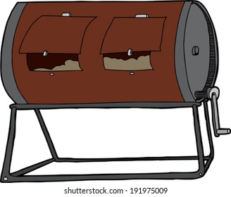 Isolated hand drawn compost tumbler on white background