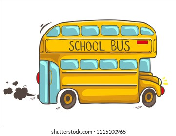 isolated hand drawn cute bright yellow doubledecker school bus on motion in a cartoon style on white background with brown smoke behind  - vector illustration