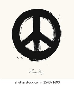 Isolated hand drawn peace symbol brush style composition. EPS10 Vector file organized in layers for easy editing.