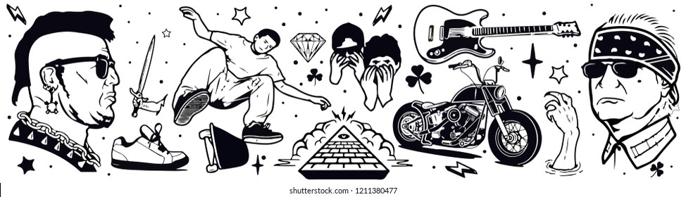 Isolated hand drawn thug life punk rock tattoo and biker's elements with motorbike, guitar and knife vector illustration banner on white background