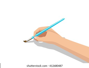 Isolated hand holding a paintbrush. Brush painting on white background. Vector illustration
