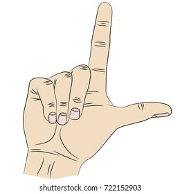 Isolated hand that shows gesture loser by index finger and thumb.