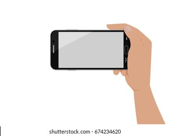 Isolated hand which is holding horizontal smart phone on transparent background
