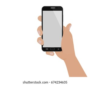 Isolated hand which is holding vertical smart phone on transparent background