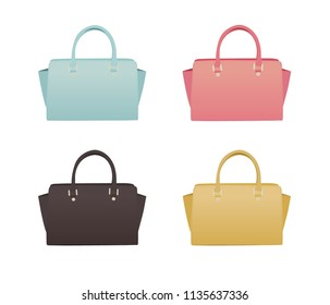 Isolated Handbags. Summer Handbags. Illustration of Handbags.