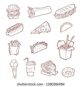 Isolated handdrawn fastfood illustrations on white background. Icon set. Fastfood icon set.