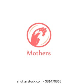Isolated hands logo. Orphanage emblem. Family sign. Children care image. Adoption illustration sing. Kindergarden icon. Charity for orphans. Help kids campaign. Mother and child Day.