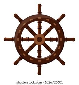 Isolated handwheel icon. Brown classic wooden sea steering wheel. Vector Illustration