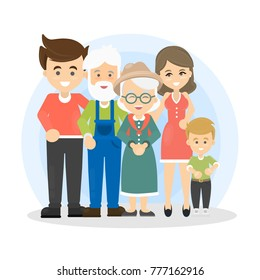 Isolated happy family with parents, grandparents and children on white background.