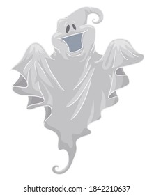 Isolated happy and playful ghost, floating with a white fabric in cartoon style.