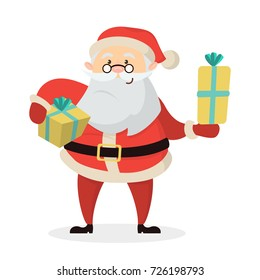 Isolated happy Santa Claus with gift boxes on white background.