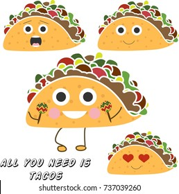 Isolated happy tacos. Emotional tacos for your good mood. Vector illustration in eps 10.