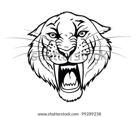 Isolated Head Saber Tooth Tiger Vector Stock Vector Royalty Free