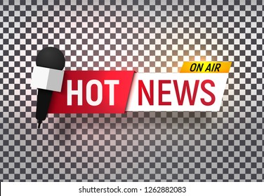 Isolated heading of Hot news. Template title bar of news on transparent background. Vector illustration