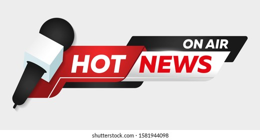 Isolated heading of Hot news. Template title bar of news on transparent background