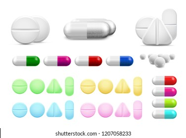 Isolated healthcare white pills, antibiotics or painkiller drugs. Vitamin pill, antibiotic capsule tablet and pharmaceutical drug painkillers cure or treatment drugs medicine realistic vector set