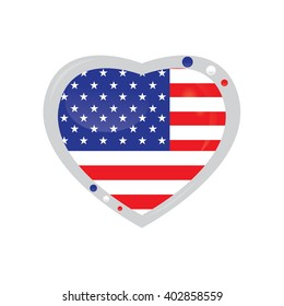 Isolated heart shape with the american flag on a white background