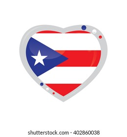 Isolated heart shape with the flag of Puerto Rico on a white background