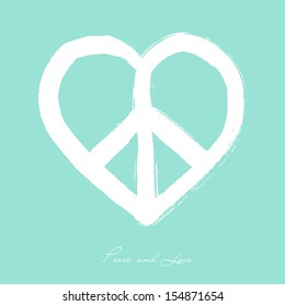 Isolated heart shape peace symbol brush style composition over blue background. EPS10 Vector file organized in layers for easy editing.