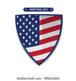 Isolated heraldry shield with the american flag and a ribbon with text for memorial day