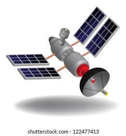 Isolated high tech communication satellite with various transponders, antenna, switching systems and solar cells