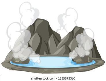 Isolated hot springs on white background illustration