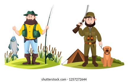 Isolated hunter and fisherman. Man with hunting dog and rifle near tent, male with fish catch and rod. Fisher and gunner at hobby recreation. Sport hunting and fishing, hunt equipment, people theme