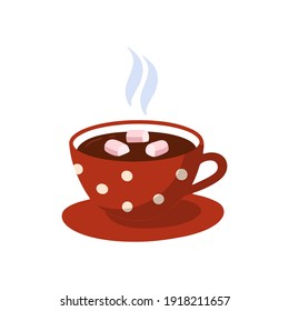 Isolated icon, a cute cup of hot chocolate. Sweet cocoa with marshmallows. Cartoon vector illustration.