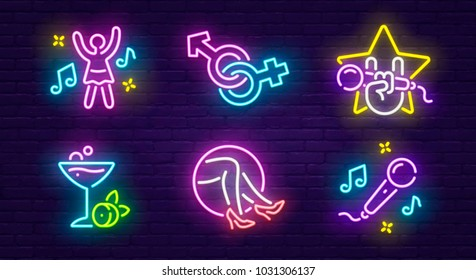 Isolated icon neon style. Theme night club, disco and karaoke.  Logo, emblem and label. Line icons colorful. Vector illustration.