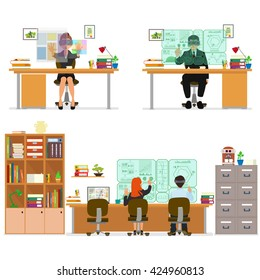 isolated icon of people working on the computer. people work in different places.  vector