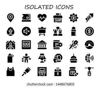 isolated icon set. 30 filled isolated icons.  Simple modern icons about  - Location, Cheese, Cardiogram, Coffee shop, Bitcoin, Firecracker, Fire, Mute, Canvas, Couple, Feeder