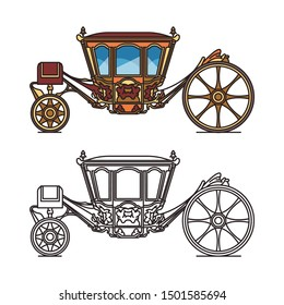 Isolated icon of wedding chariot or medieval royal carriage. Berlinda Da Casa Real or old stagecoach or brougham vehicle, landau or dormeuse transport or perth-cart, victorian cab for marriage