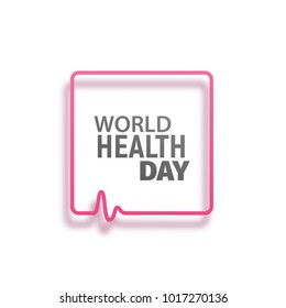 Isolated icon of World Health Day vector illustration. Stylish pink frame with shadow and text inside