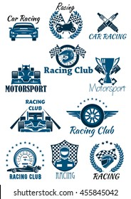 Isolated icons and emblems for racing and motorsport. Cars and racing club, laurel wreath leaves with motorbike and helmet with checkered flag, winner cup or bowl and wheel, speedometer and driver