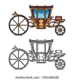 Isolated icons for fairytale carriage or princess, queen chariot, wedding buggy or marriage waggon, retro stagecoach and vintage dormeuse, classic clarence and victorian wagon, perth-cart