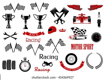 Isolated icons for motosport and racing. Checkered flags and winner cup or bowl,   wrench or spanner, laurel leaves and motorbike, wheel and speedometer, driver and stopwatch, speedometer.