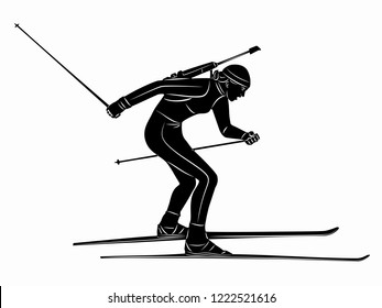 isolated illustration of a biathlon skier, black and white drawing, white background