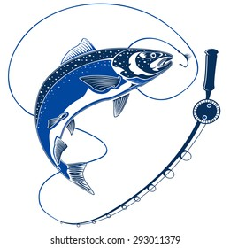 Isolated illustration of big fresh salmon fish in waves with fishing rod. Vector illustration can be used for creating logo and emblem for fishing clubs, prints, web and other crafts.