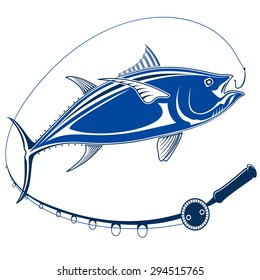 Isolated illustration of big tuna fish in waves with fishing rod. Vector illustration can be used for creating logo and emblem for fishing clubs, prints, web and other crafts.