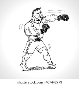 Isolated illustration of boxer with the boxing gloves, black and white drawing, white background. Hand drawn vector llustration. Cartoon sketch
